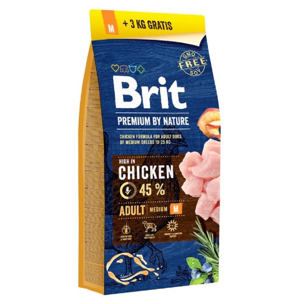 Brit premium Nature Adult M 15 + 3kg ZDARMA