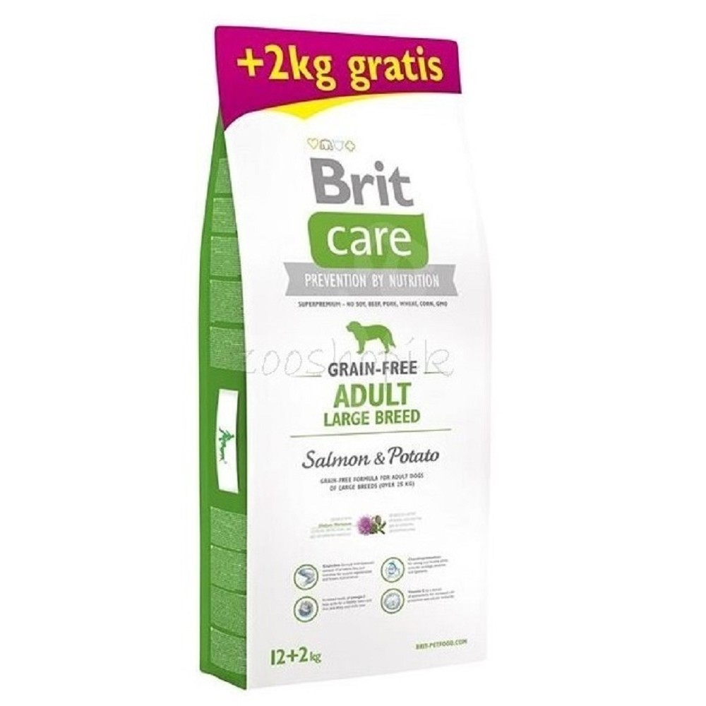 Brit care Adult LB Salmon & Potato 12+2kg ZDARMA