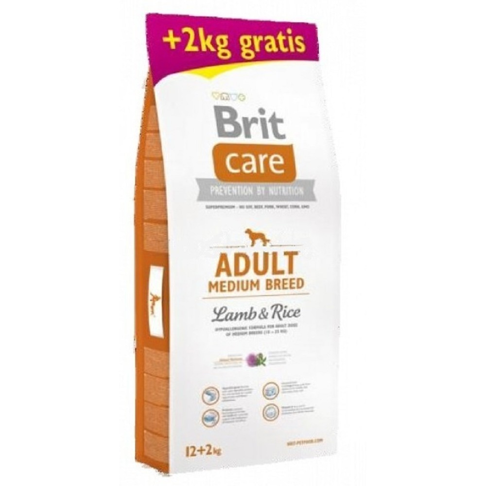 Brit care Adult Medium  Lamb & Rice 12+2kg  ZDARMA