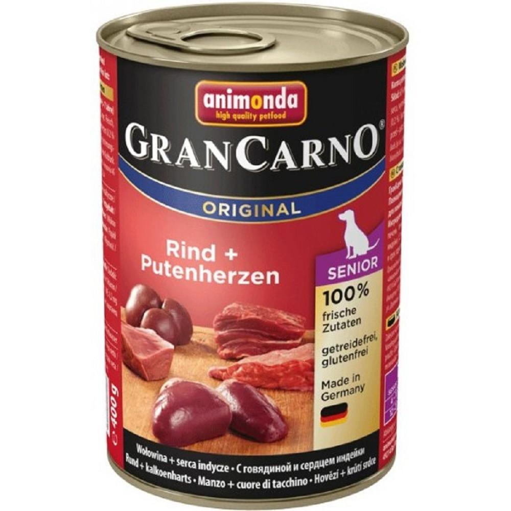 Gran Carno hovězí s krůtím srdcem senior 400g