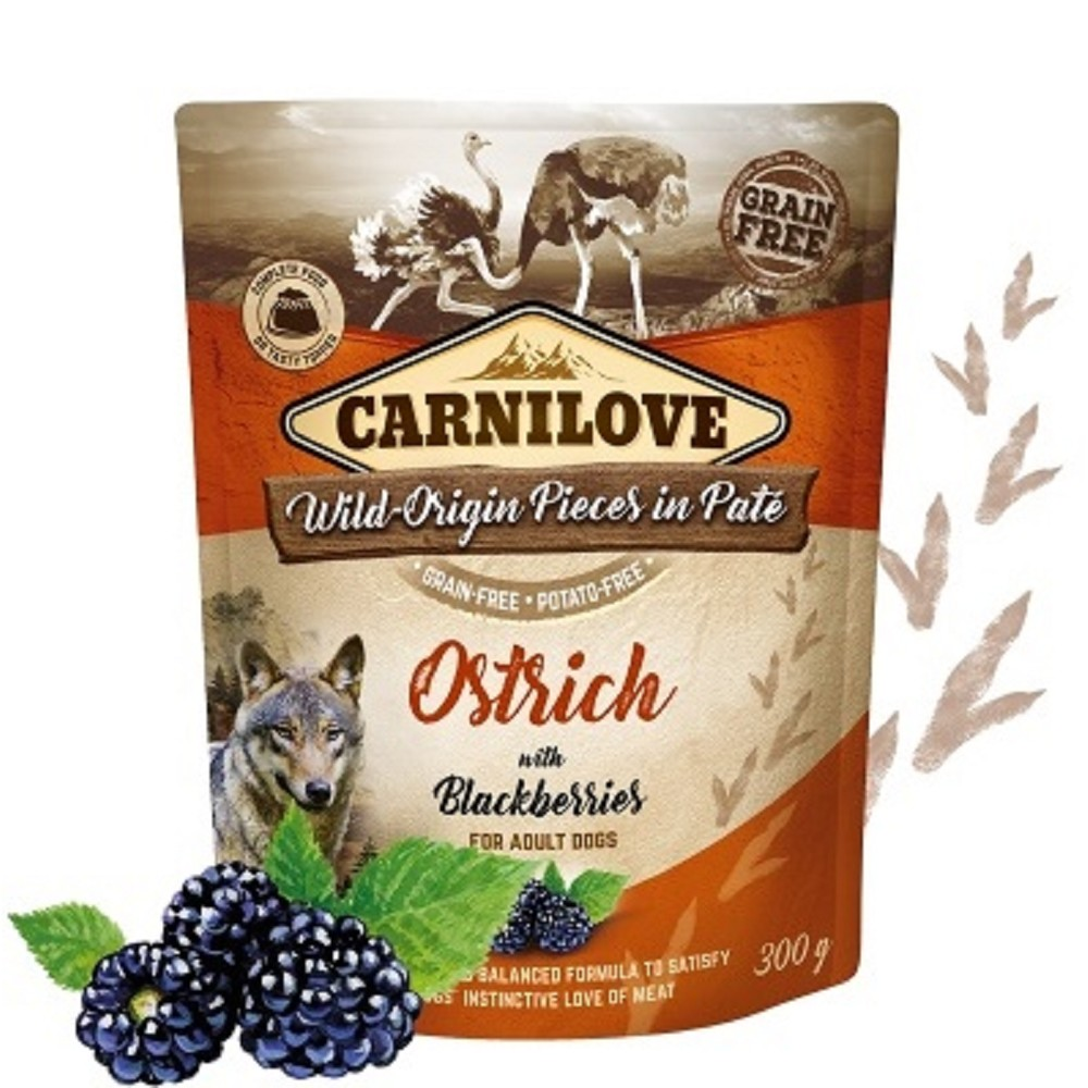 Carnilove Pouch Paté Ostrich with Blackberries 300g