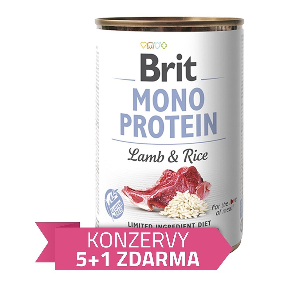 Brit Mono Protein Jehněčí s rýží 400g - 5+1 zdarma