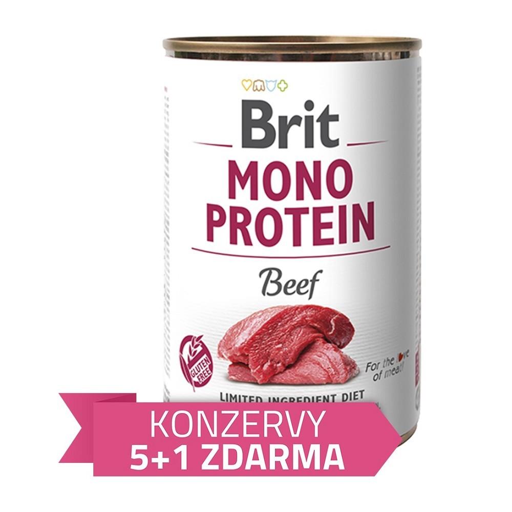 Brit Mono Protein Hovězí 400g - 5+1 zdarma