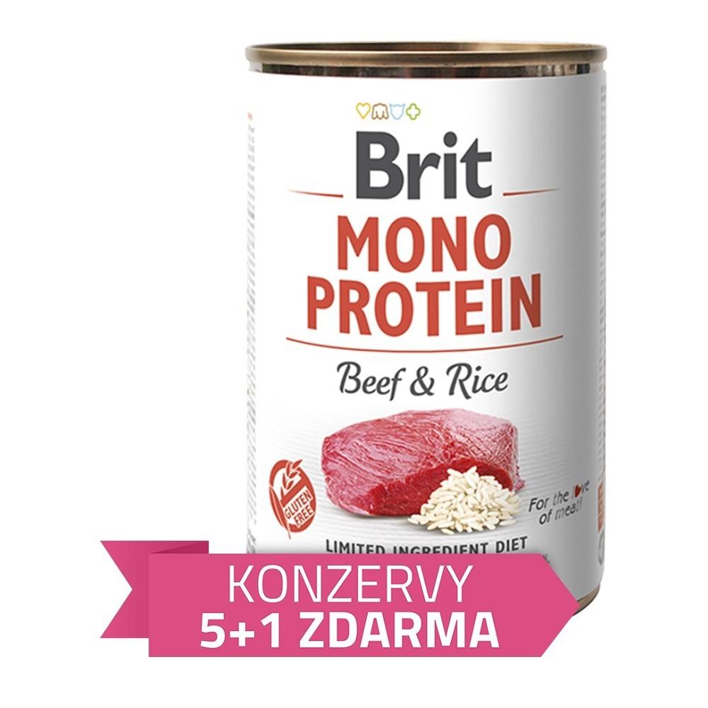 Brit Mono Protein Hovězí s rýží 400g - 5+1 ZDARMA
