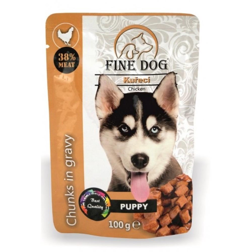 Fine dog puppy - kuřecí v omáčce 100g