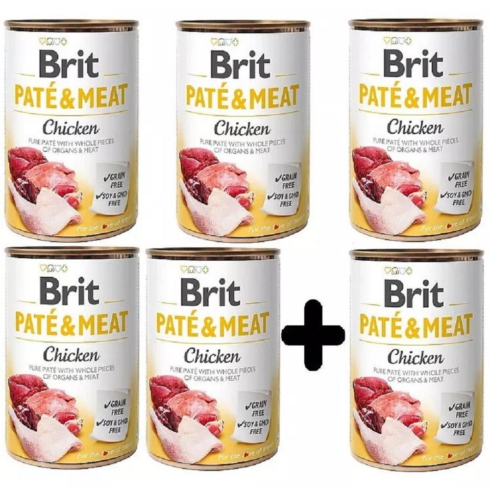 Brit Paté Meat Kuře 400g - 5+1 zdarma