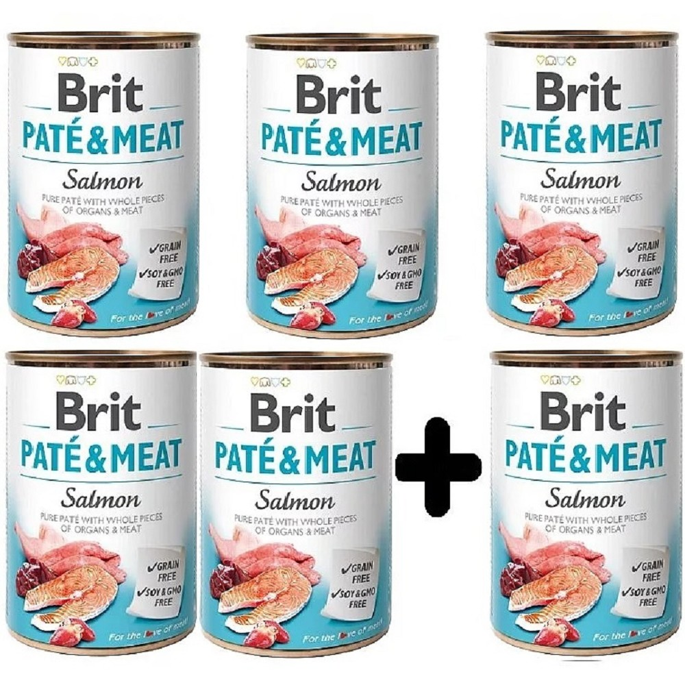 Brit Paté Meat losos 400g - 5+1 zdarma