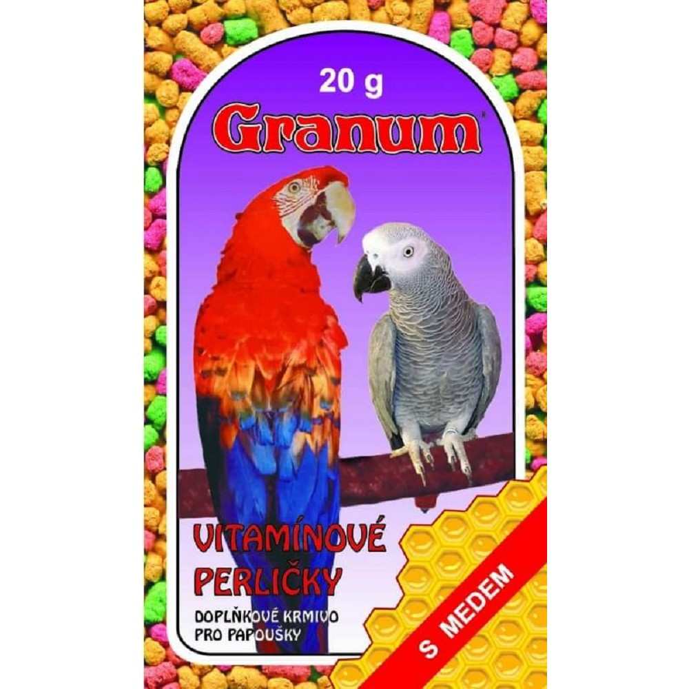 Vitamínové perle pro papoušky - medové 20g