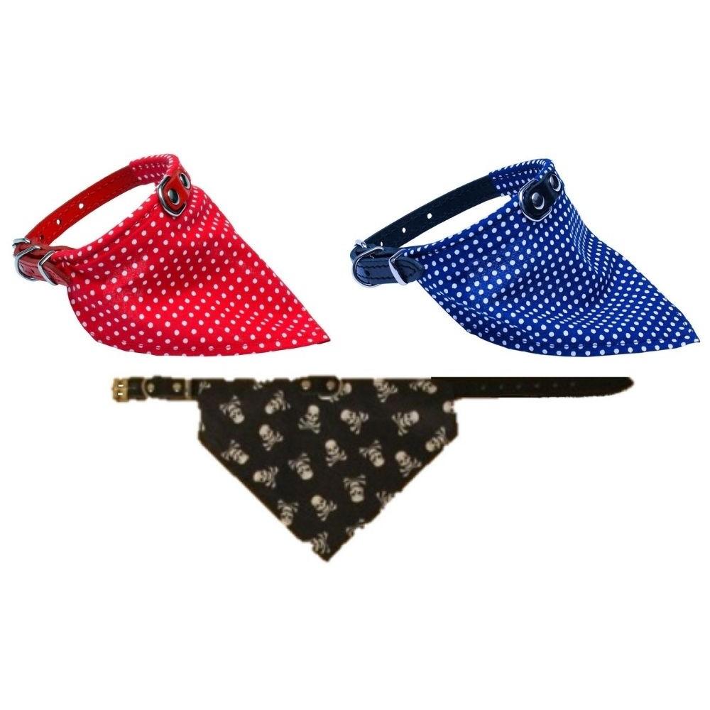 Obojek kožený - červený s šátkem 1,6x40cm