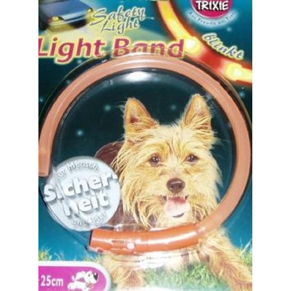 Obojek blikací light Band - oranžový 25cm