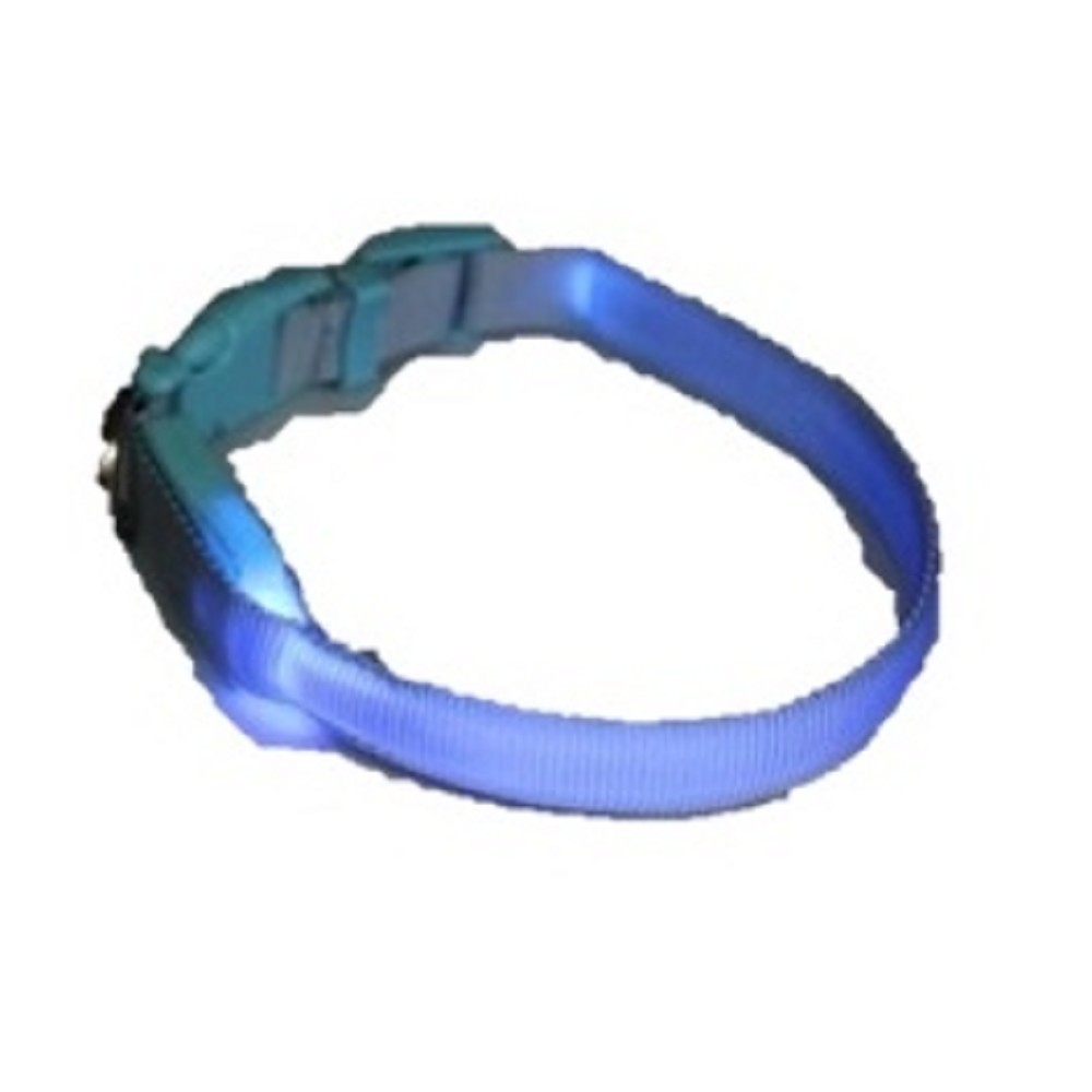 Obojek svítící - světle modrý 1,5x18-28cm