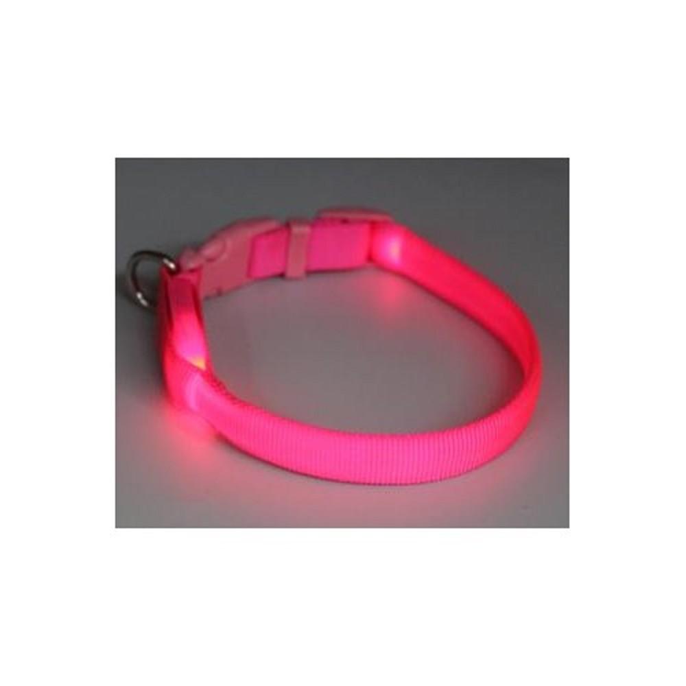 Obojek svítící - růžový 1,5x28-38cm