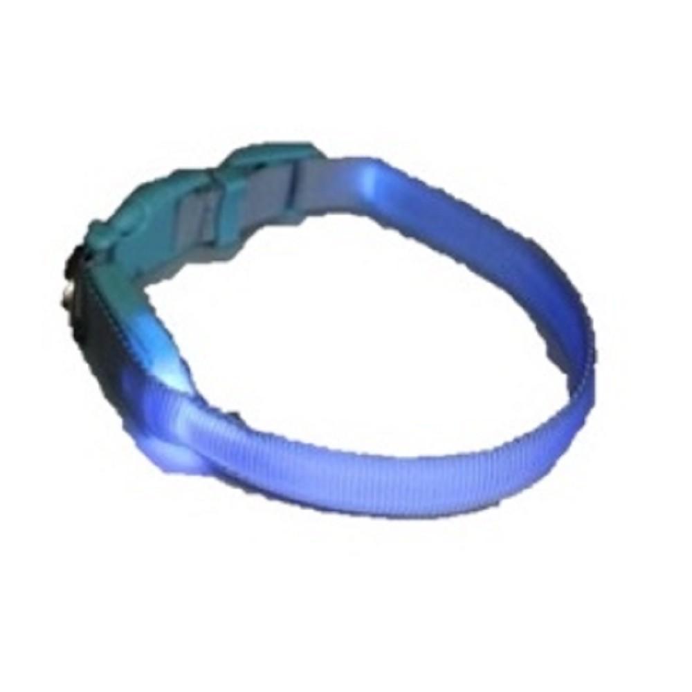 Obojek svítící - -světle modrý 1,5x38-48cm