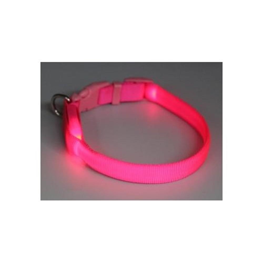 Obojek svítící - růžový 1,5x38-48cm