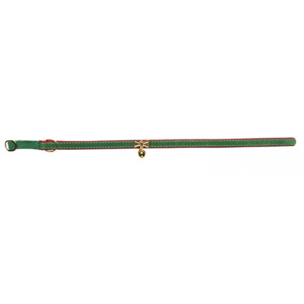 Obojek s rolničkou zelený s filcem 1,2x36cm