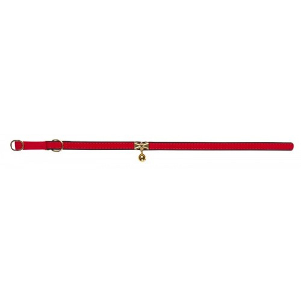 Obojek s rolničkou červený s filcem 1,2x36cm