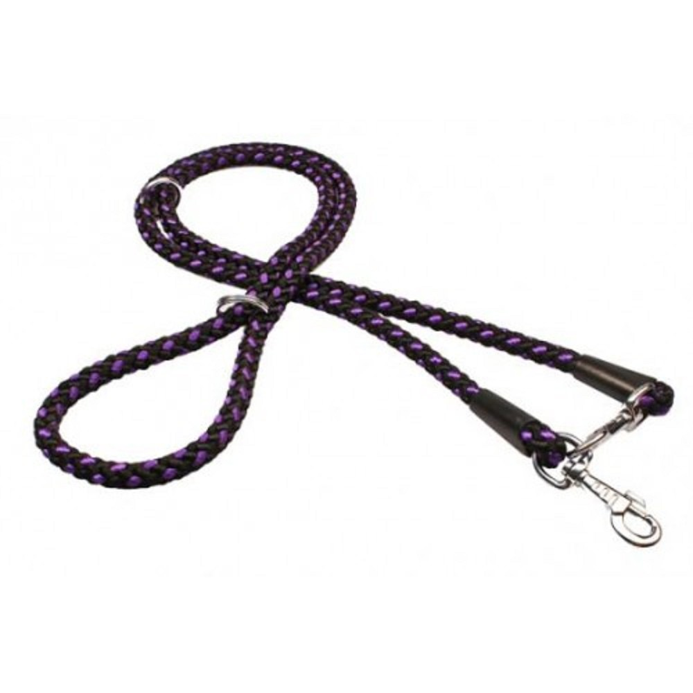 Vodítko uzlík přepínací - černo-fialové 1,4x240cm