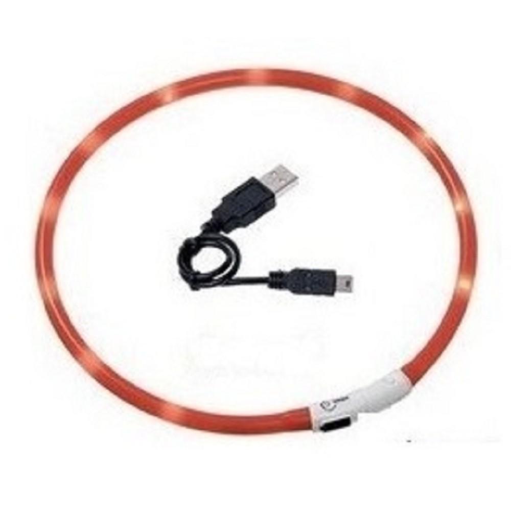 Obojek svítící LED - oranžový 75cm