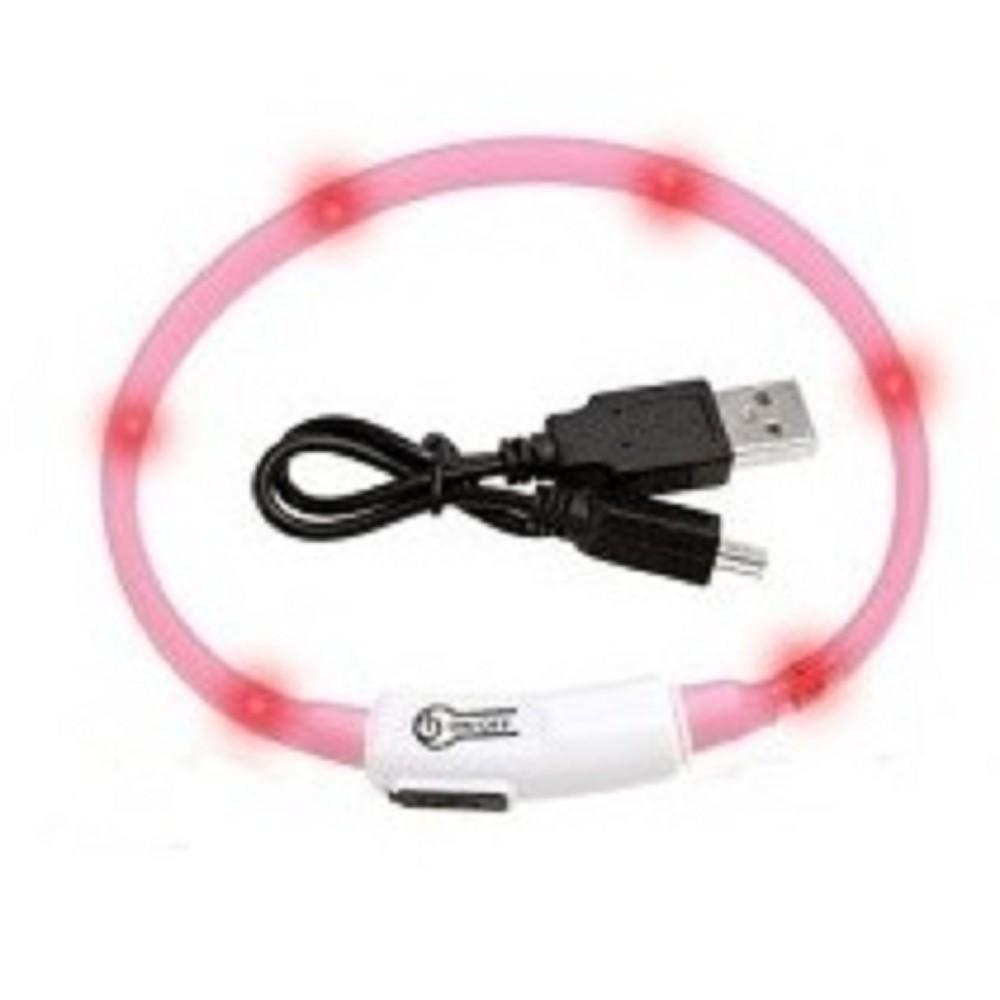 Obojek svítící LED -  růžový 35cm