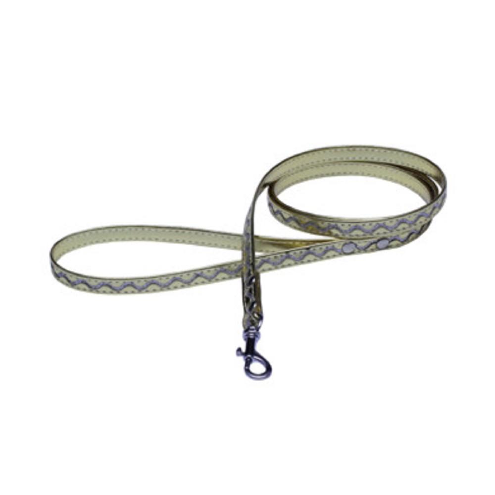 Vodítko koženka stříbrné vlnky - zlaté 1,2x120cm
