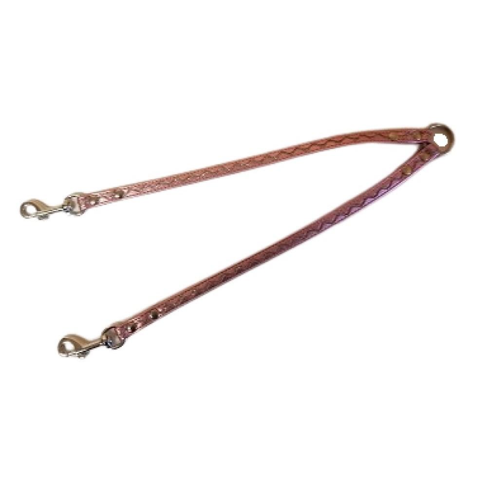 Rozdvojka koženka - stříbrné vlnky - růžová 1,2x30cm