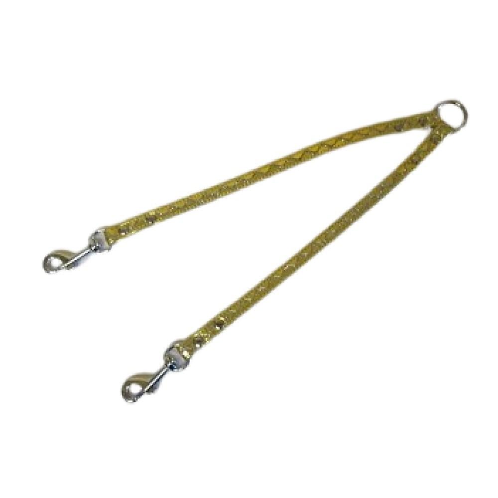 Rozdvojka koženka - stříbrné vlnky - zlatá 1,2x30cm