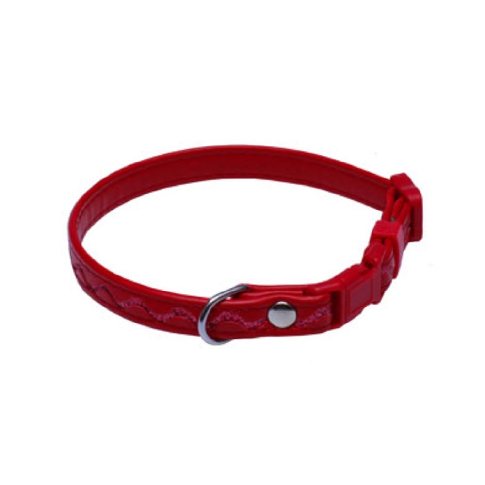 Obojek koženka stříbrné vlnky 1,2x18-28cm - červený