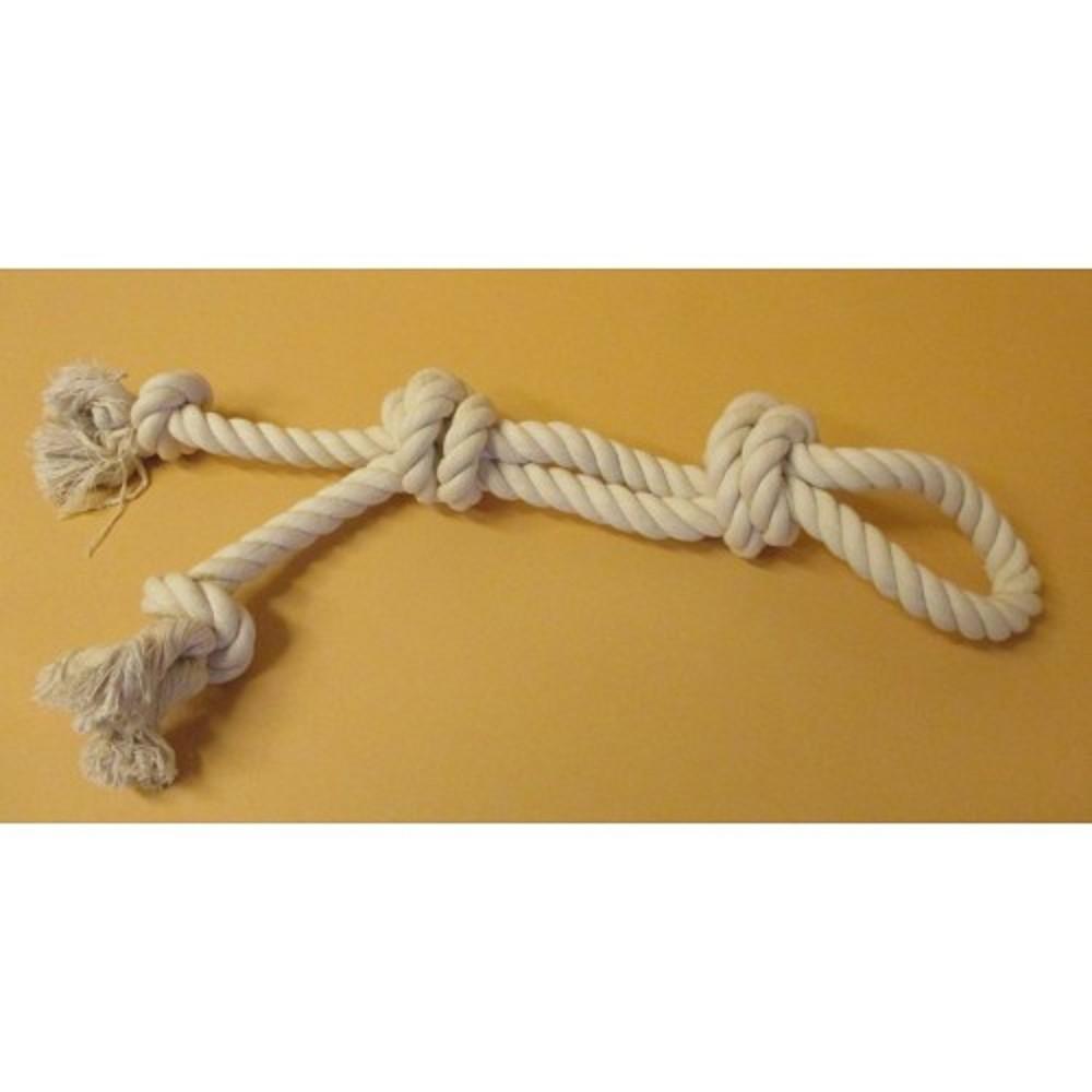 Přetahovadlo bavlněné bílé 4 uzly - 65cm