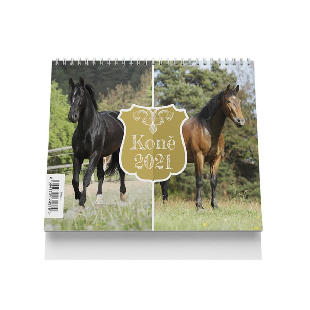 Kalendář stolní malý - Koně 2021