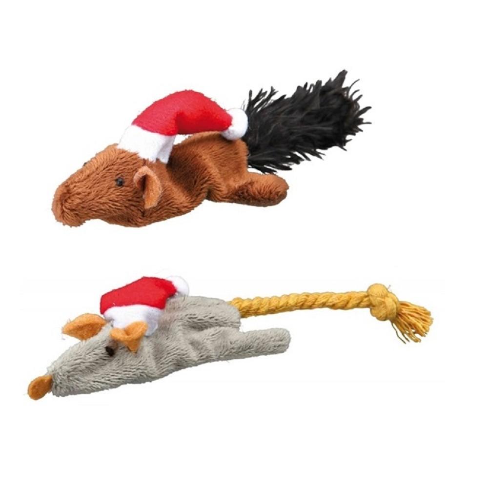 Vánoční plyšová hrčka pro kočky 16cm - 2ks