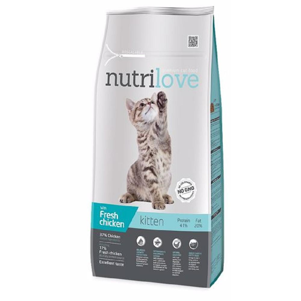 Nutrilove Kitten s čerstvým kuřecím 8kg