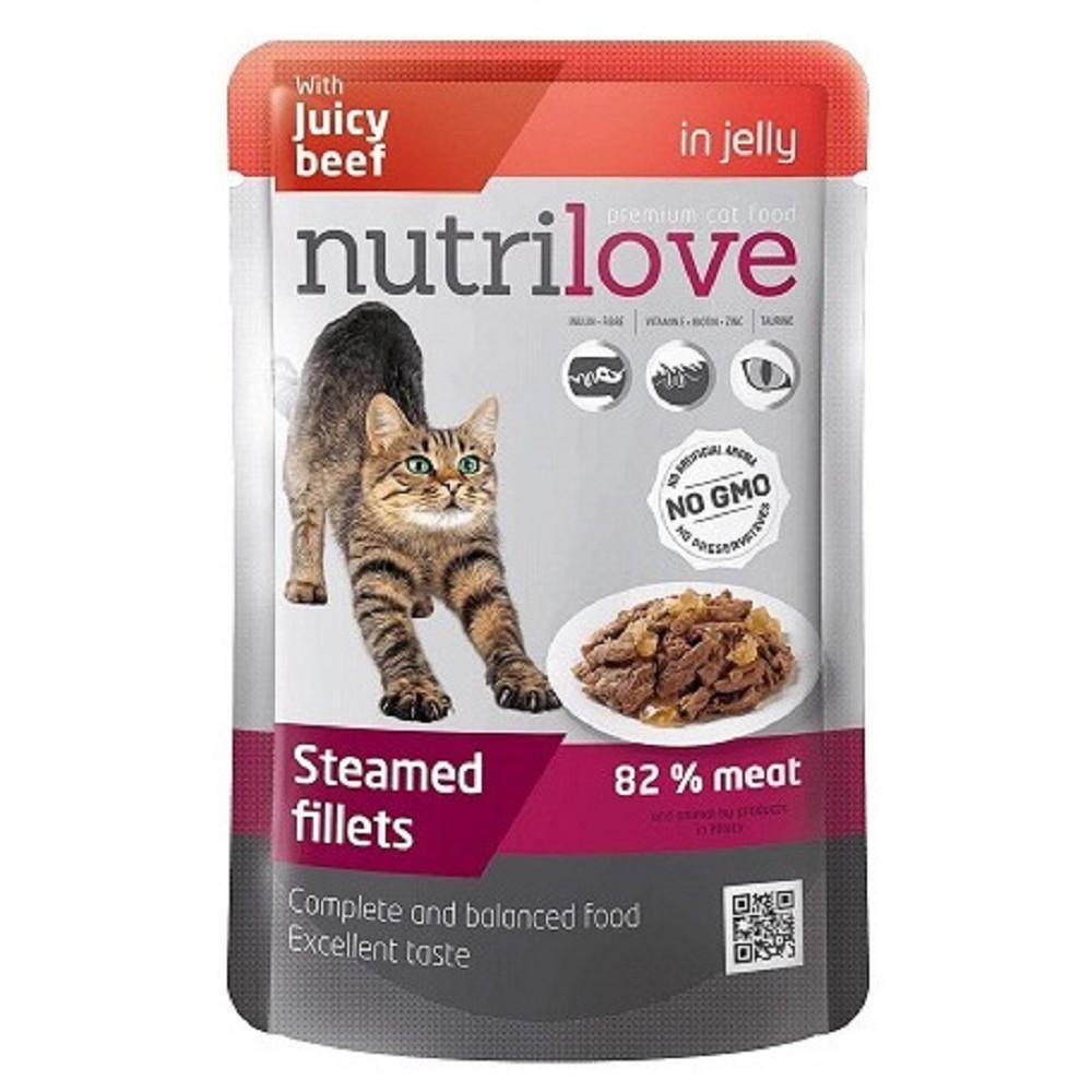 Nutrilove cat hovězí v želé 85g