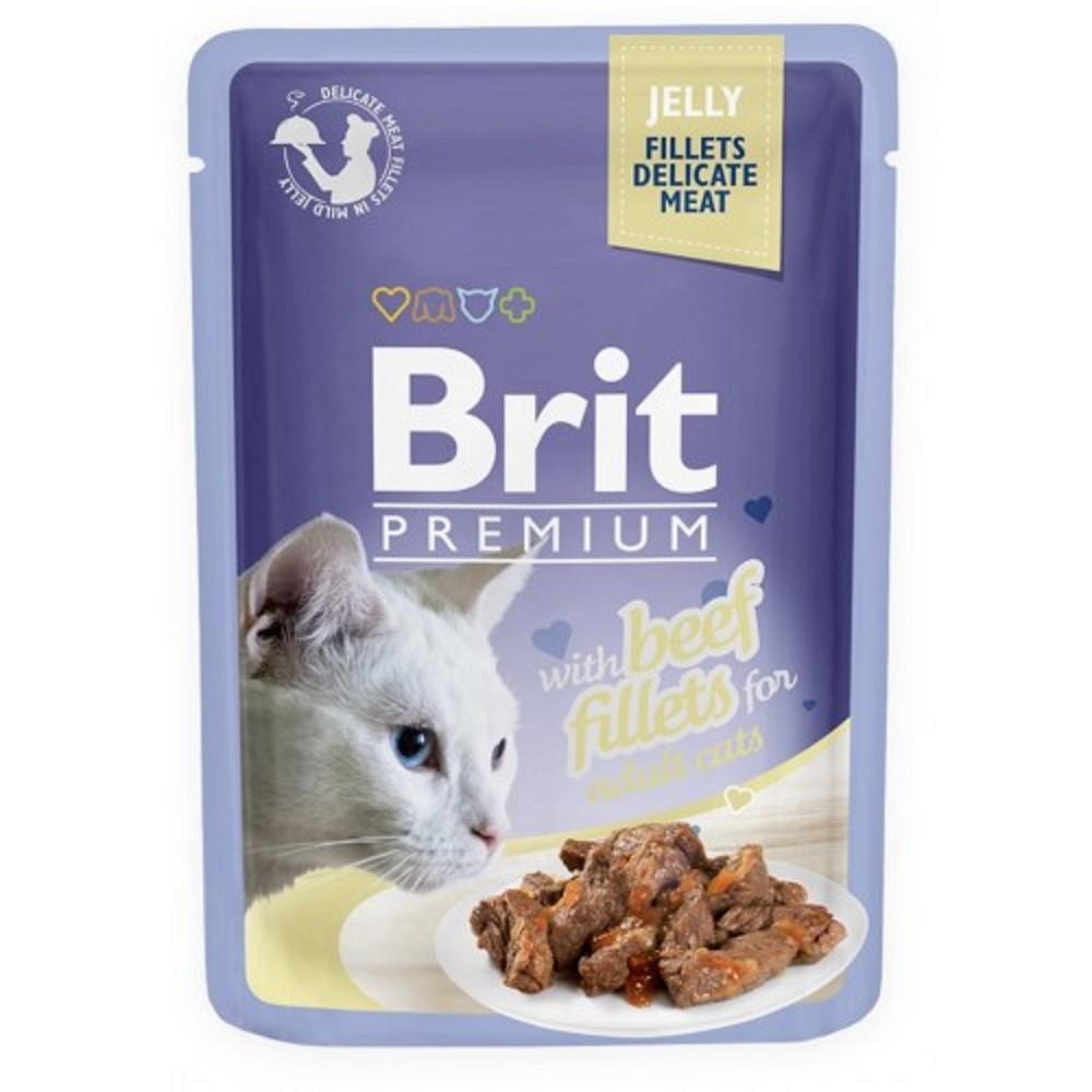 Brit premium filety s hovězím v želé 85g