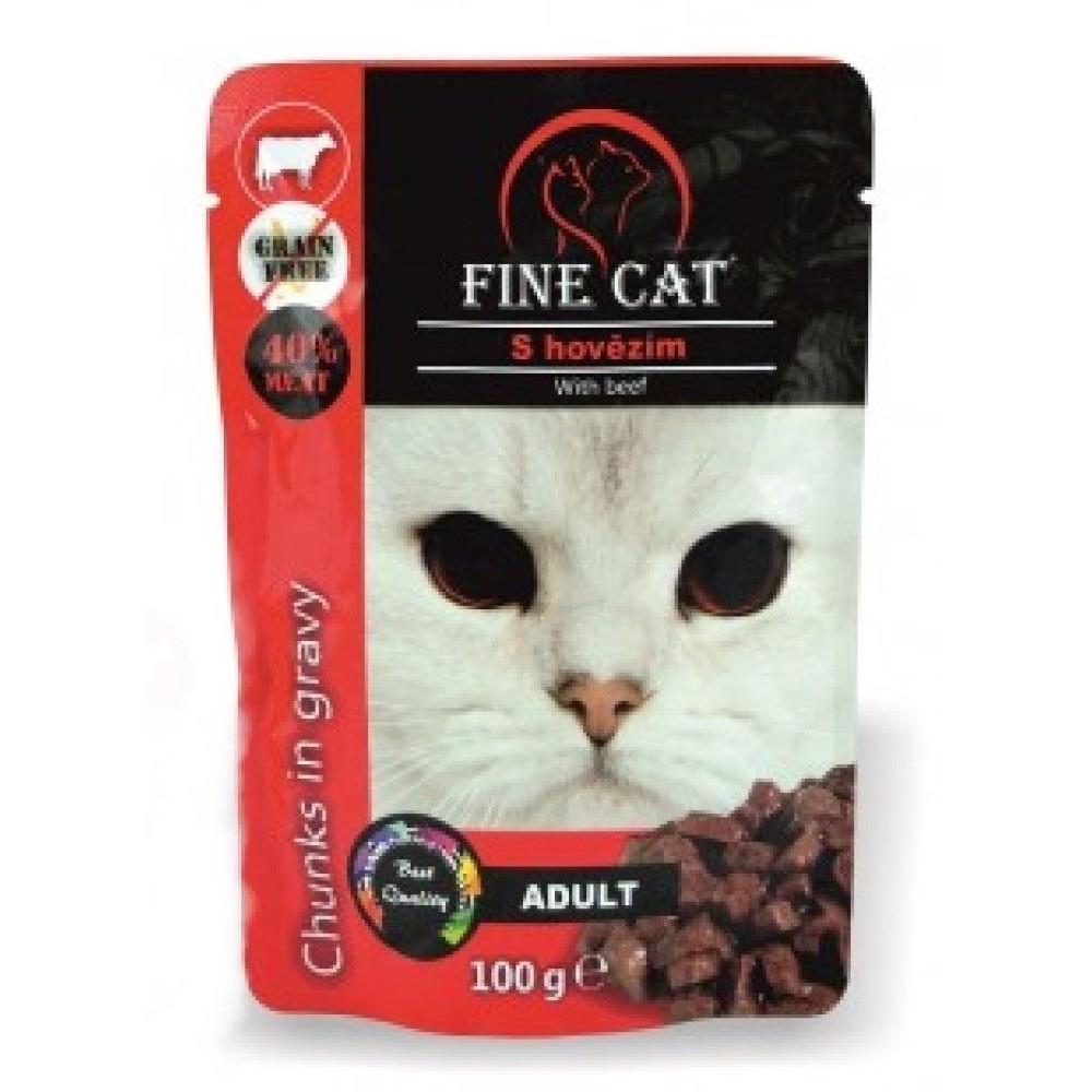 Fine cat Adult hovězí v omáčce - GRAIN-FREE 100g