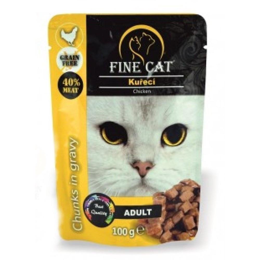 Fine cat Adult kuřecí v omáčce - GRAIN-FREE 100g