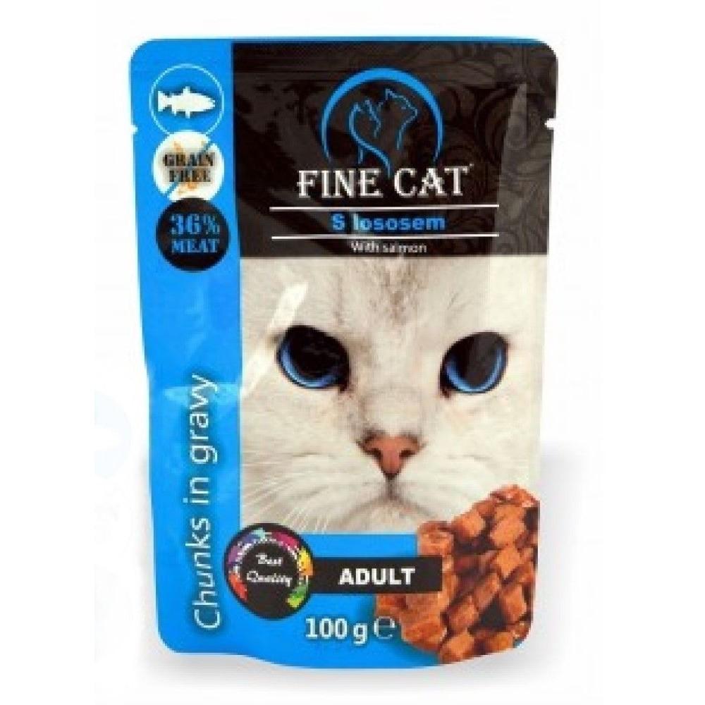 Fine cat Adult losos v omáčce - GRAIN-FREE 100g