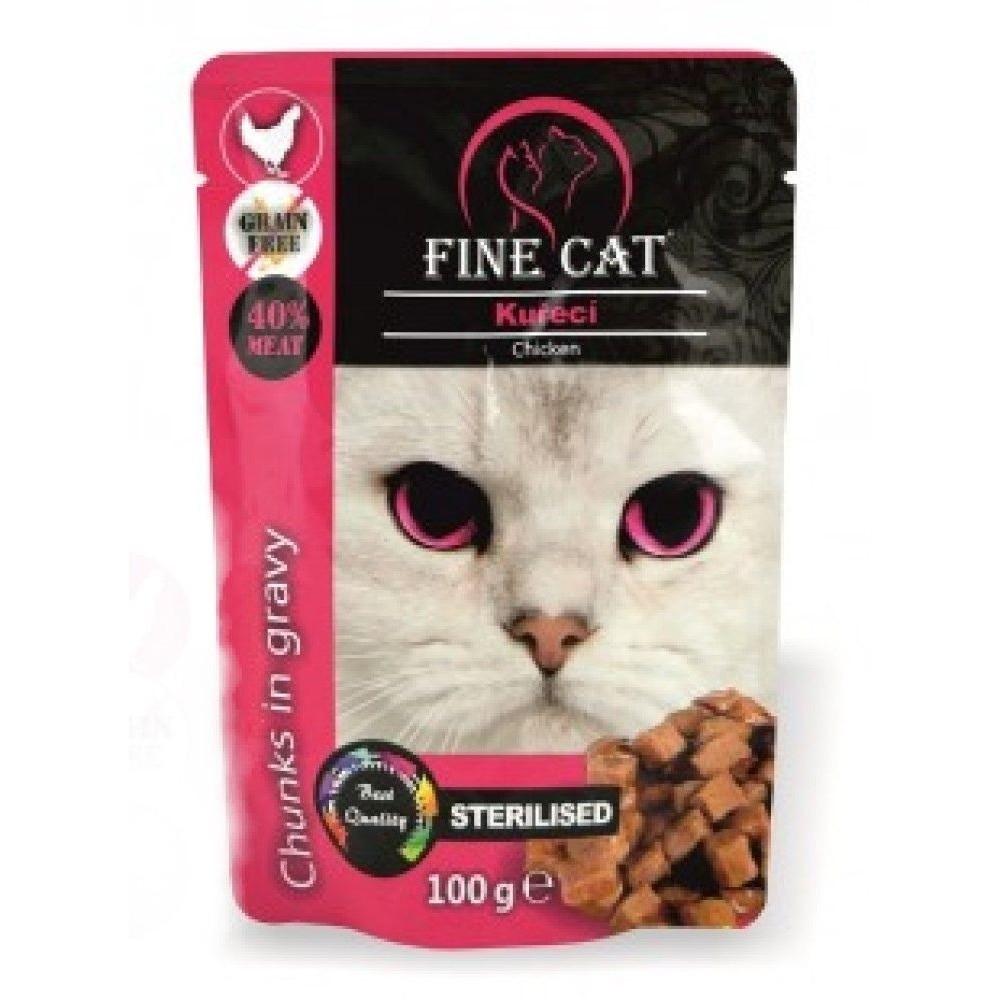 Fine cat Sterilised kuřecí v omáčce - GRAIN-FREE 100g