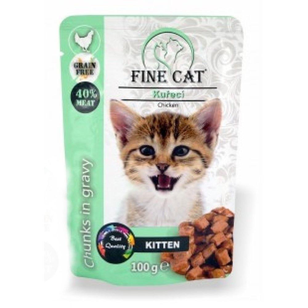 Fine cat Kitten kuřecí v omáčce - GRAIN-FREE 100g