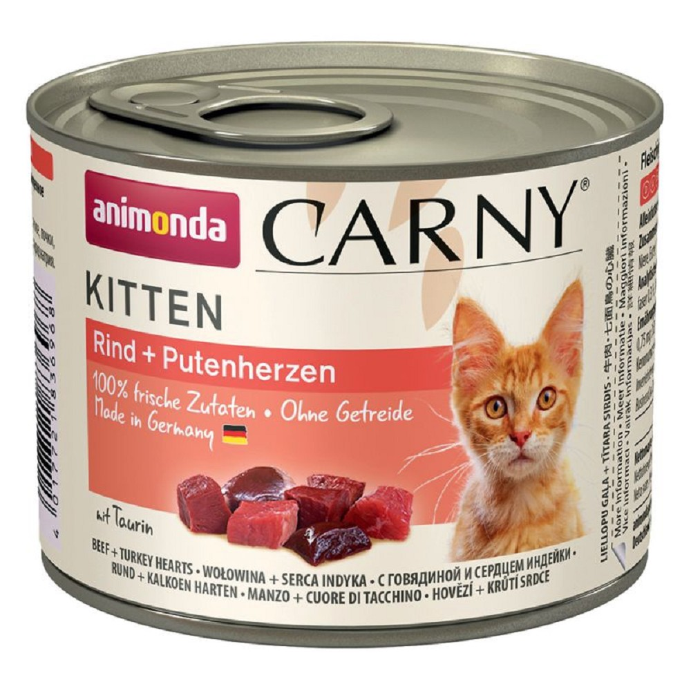 Animonda Carny hovězí s krůtím srdcem pro kotě 200g