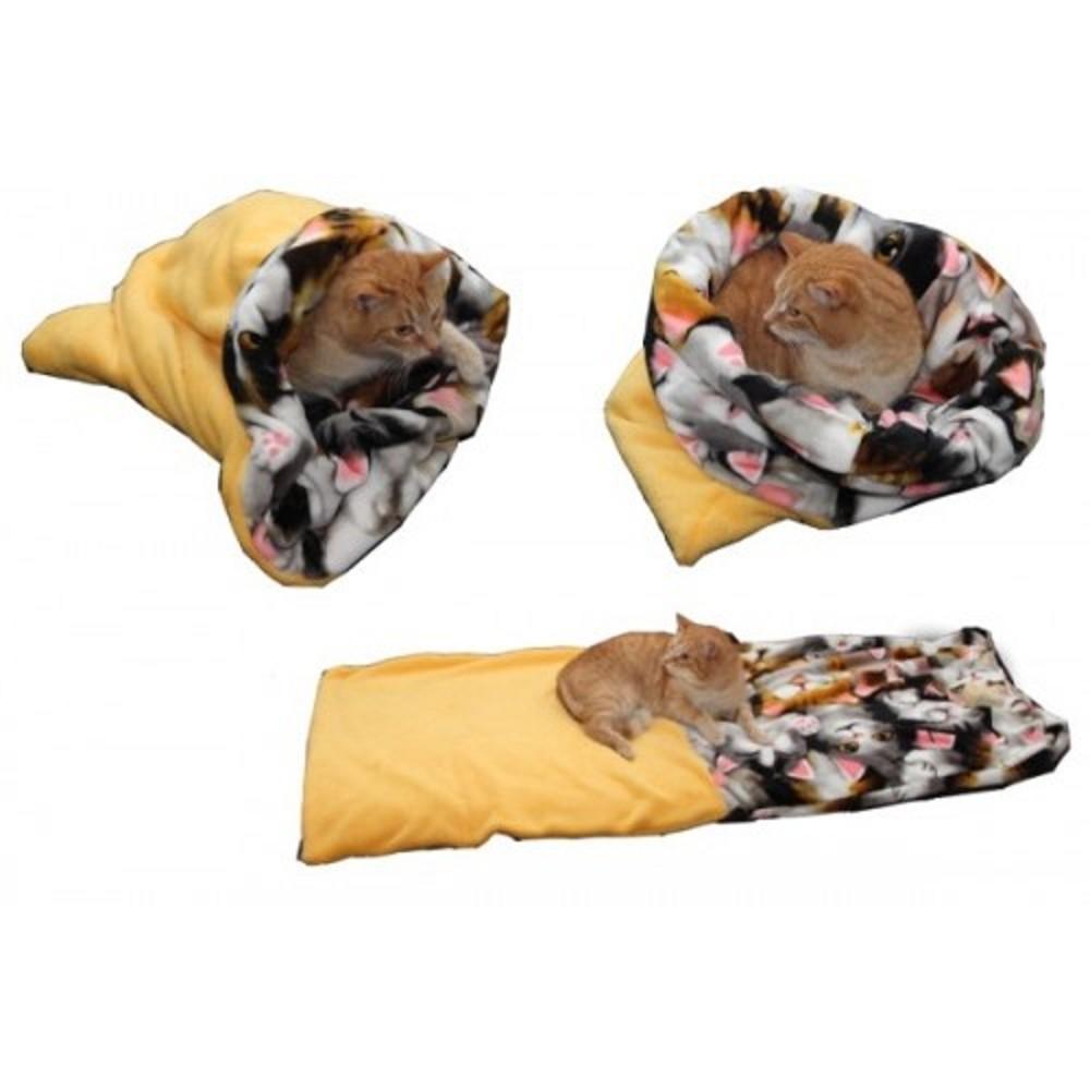 Spací pytel XL - žlutá/kočka