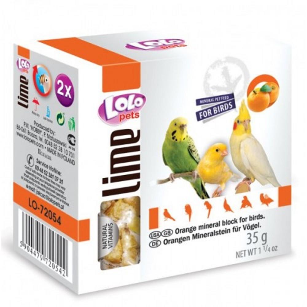 Lolo - minerální kámen pro ptáky pomeranč 2ks