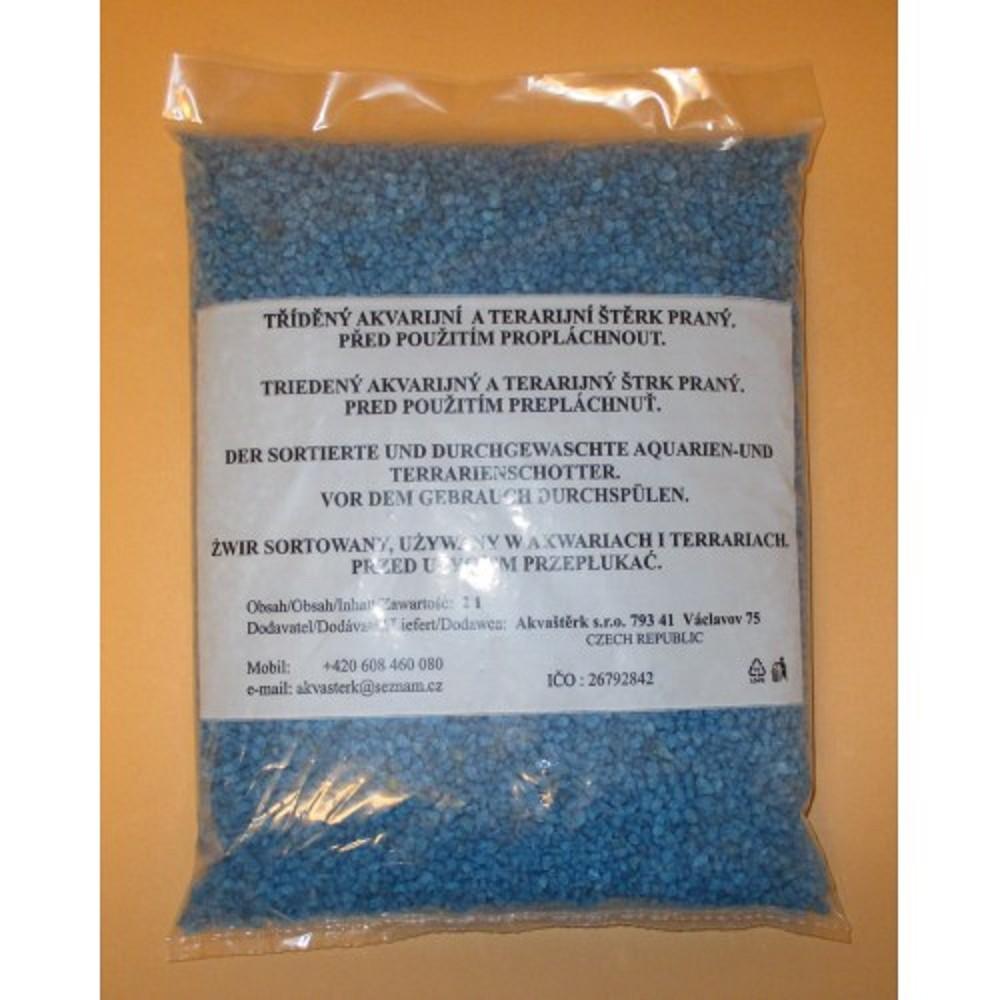 Akvarijní štěrk modrý - 2l